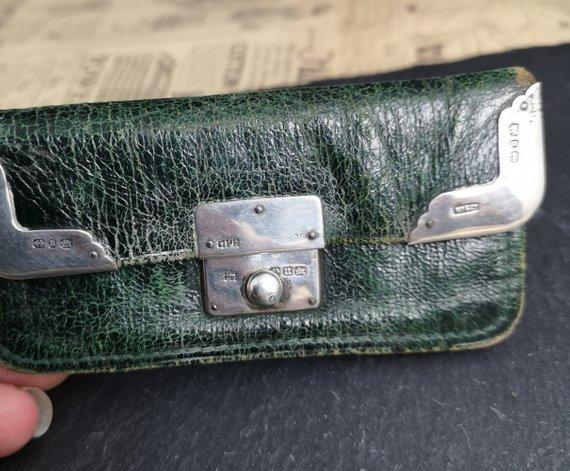 Victorian silver mounted Moroccan leather purse