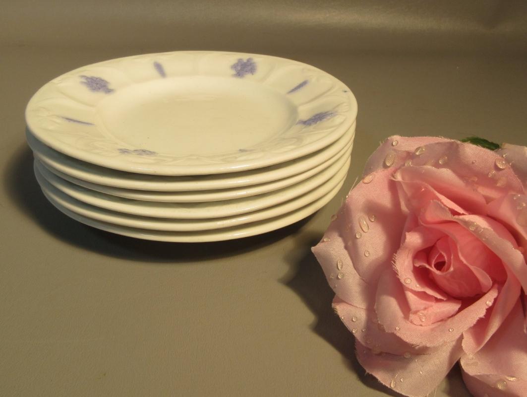 Set Of 6 Salad Plates Adderlys English Bone China Blue Raised Urns On White
