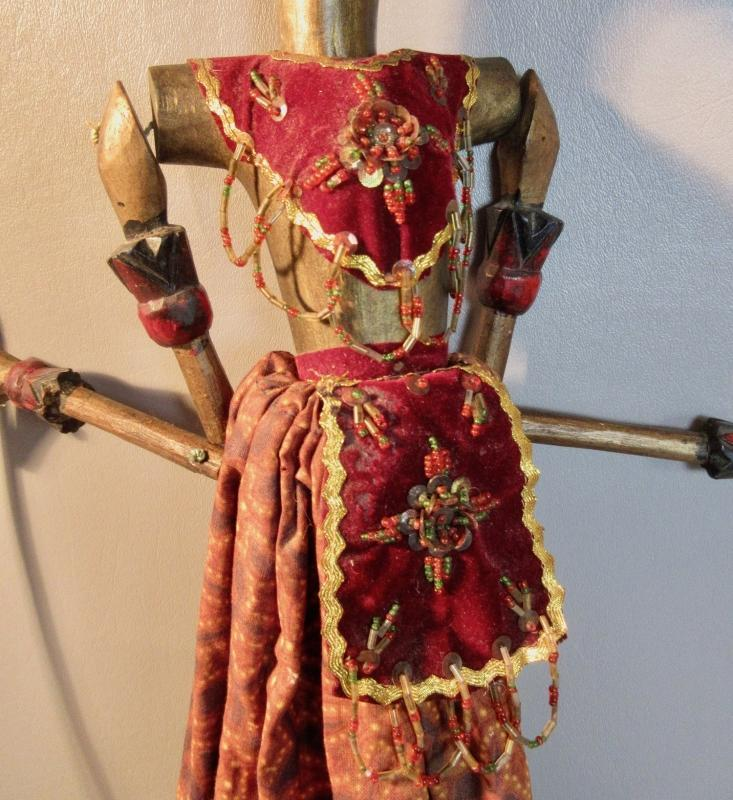 Balinese Wayang Commander Puppet c1941 Hand Painted And Carved Bird Headdress