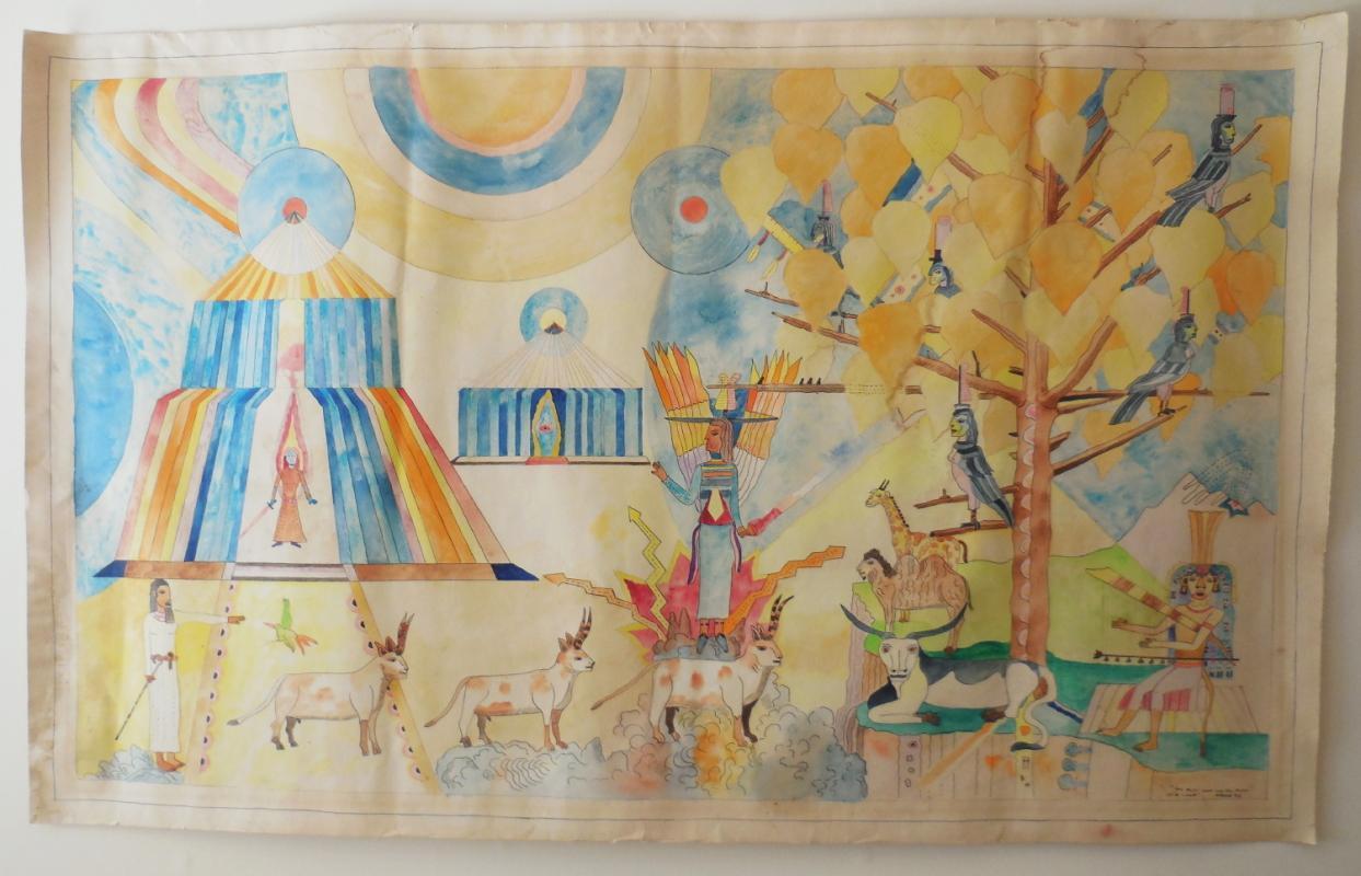 Aymon De Roussy de Sales 60x76 Inch Orig Signed Watercolor Ganesha In Celestial Tree