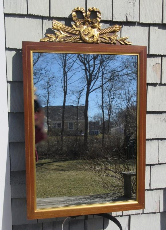 Gilt Mahogany Wall Mirror w/Crossed Torches, Ribbon and 2 Doves Crest w/Leaves