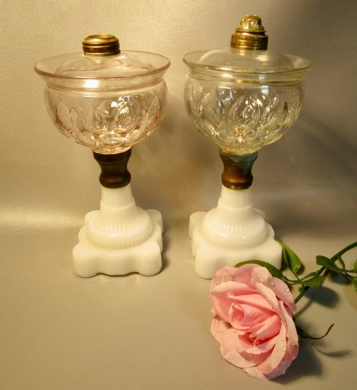 2  Lomax Oil Guard Vienna Pattern Glass Lamps Almond Thumbprint & Opal Glass c1870