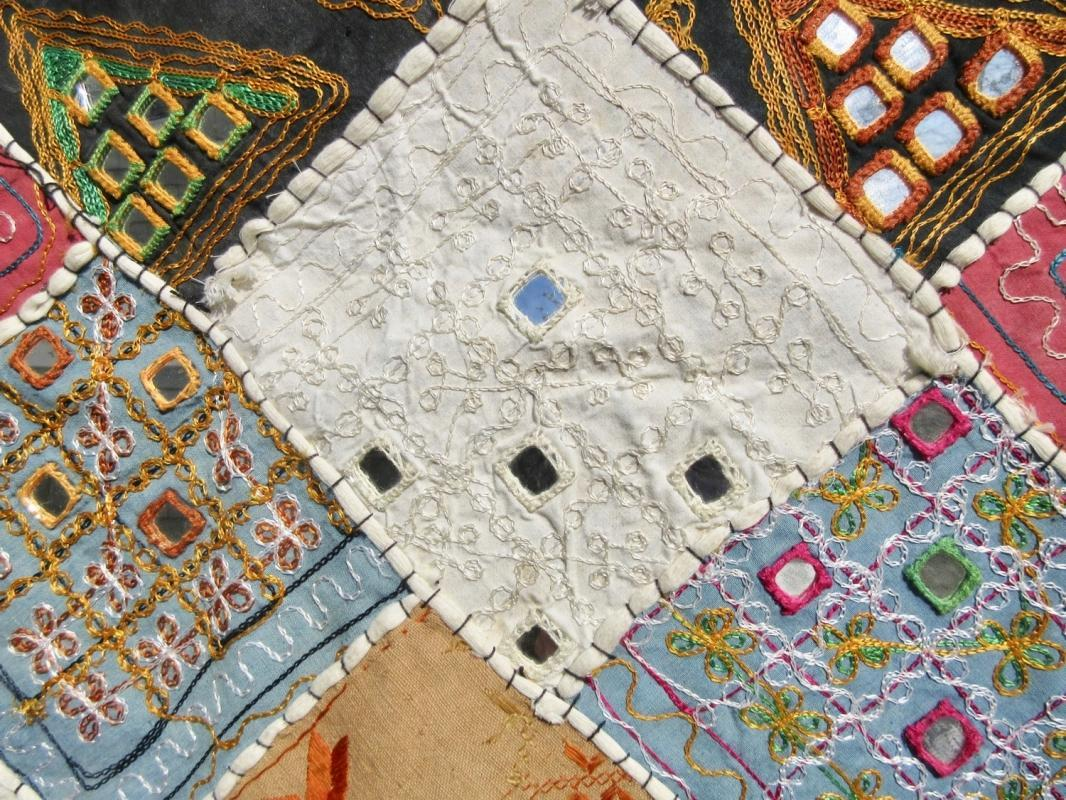 Vintage Wall Hanging Tapestry w/Patchwork Recycled Fabrics & Mirrors India Tribal Gypsy