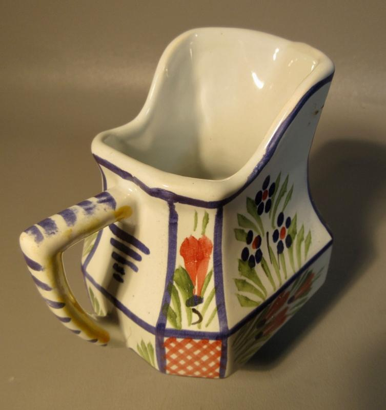 Henriot Quimper France Faience Creamer HB Mark Hand Painted Breton Woman