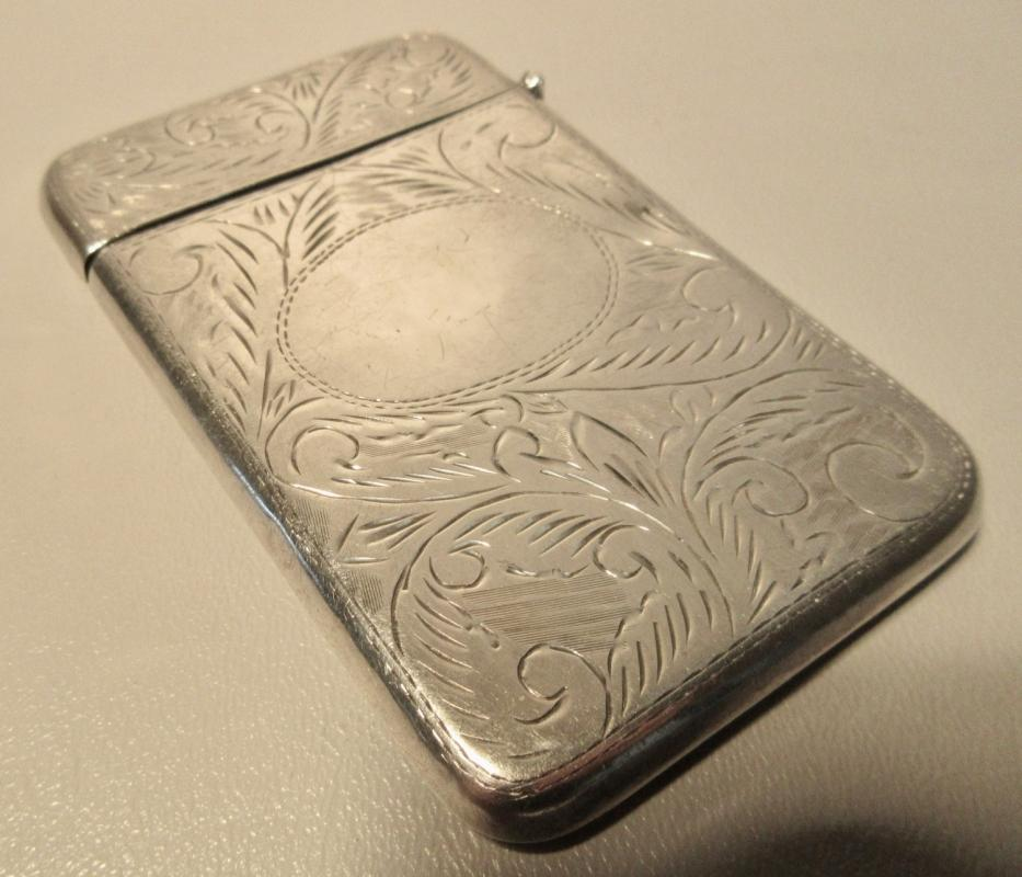 Ari D. Norman Sterling Silver Match Safe Vesta w/British Hallmarks Scroll Engravings