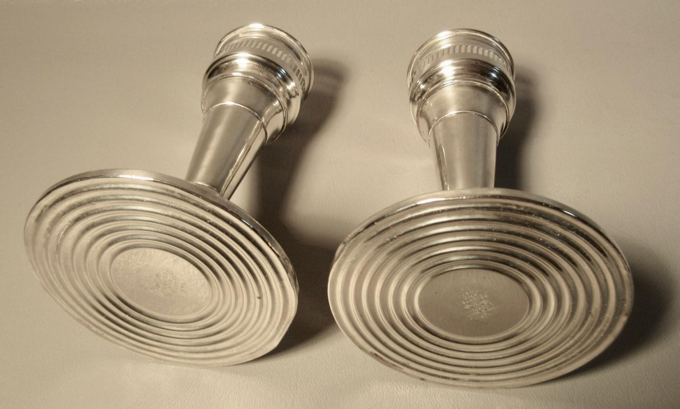 Pair (2) Sterling Silver Hurricane Candle Sticks Whiting w/Acid Etched Glass Shades