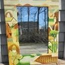 Hand Painted Leather Framed Wall Mirror w/Southwestern Motif 25x16