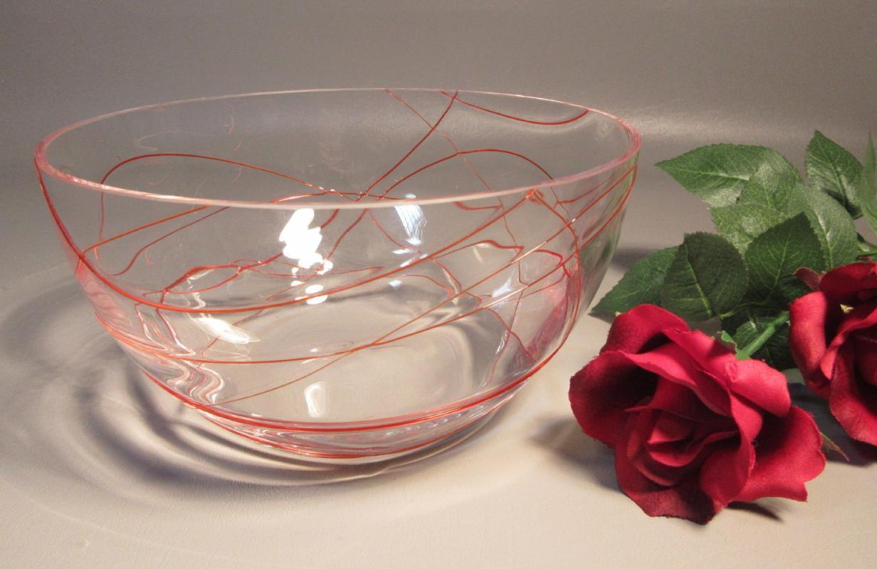 Murano Studio Art Glass Bowl Clear Glass w/ Applied Ruby Red Threaded Glass