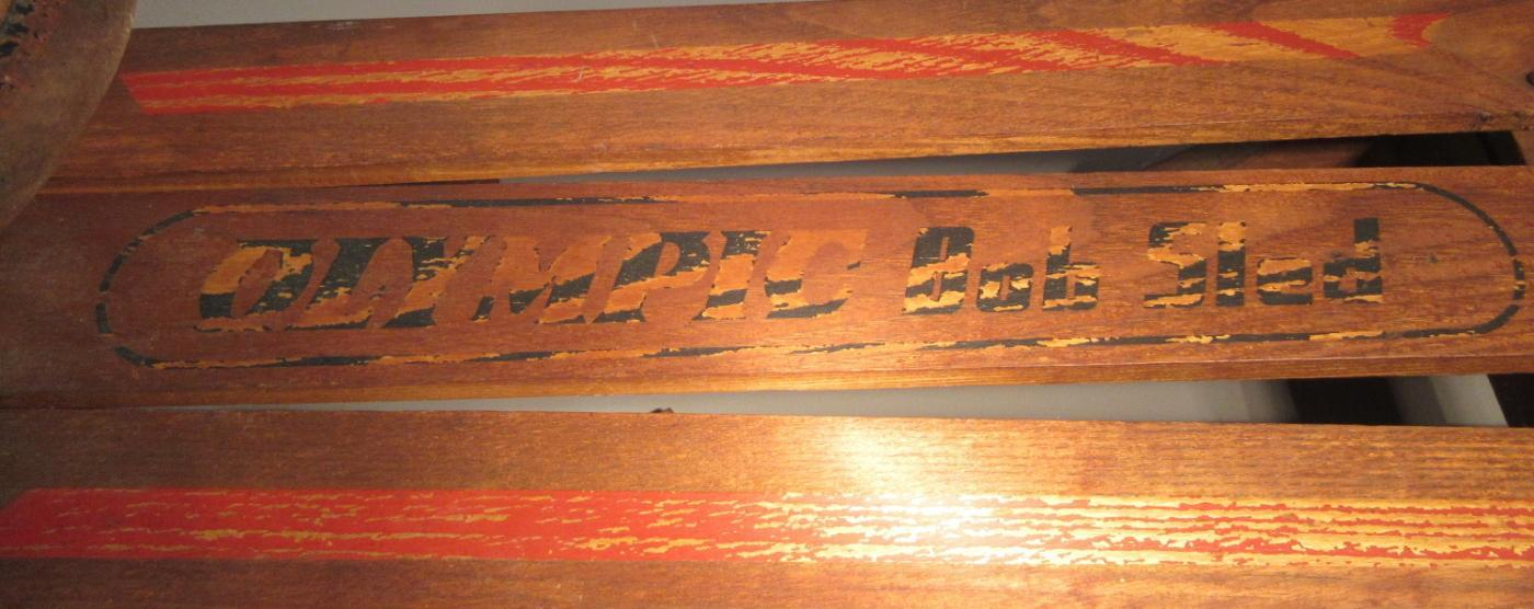c1930 Antique Child's Wooden Olympic Bob Sled w/Steering Wheel
