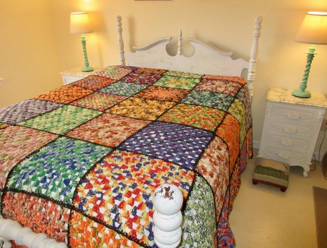 Vintage Hand Crocheted King Afghan Bedspread Multi-Colored Squares Bohemian BoHo