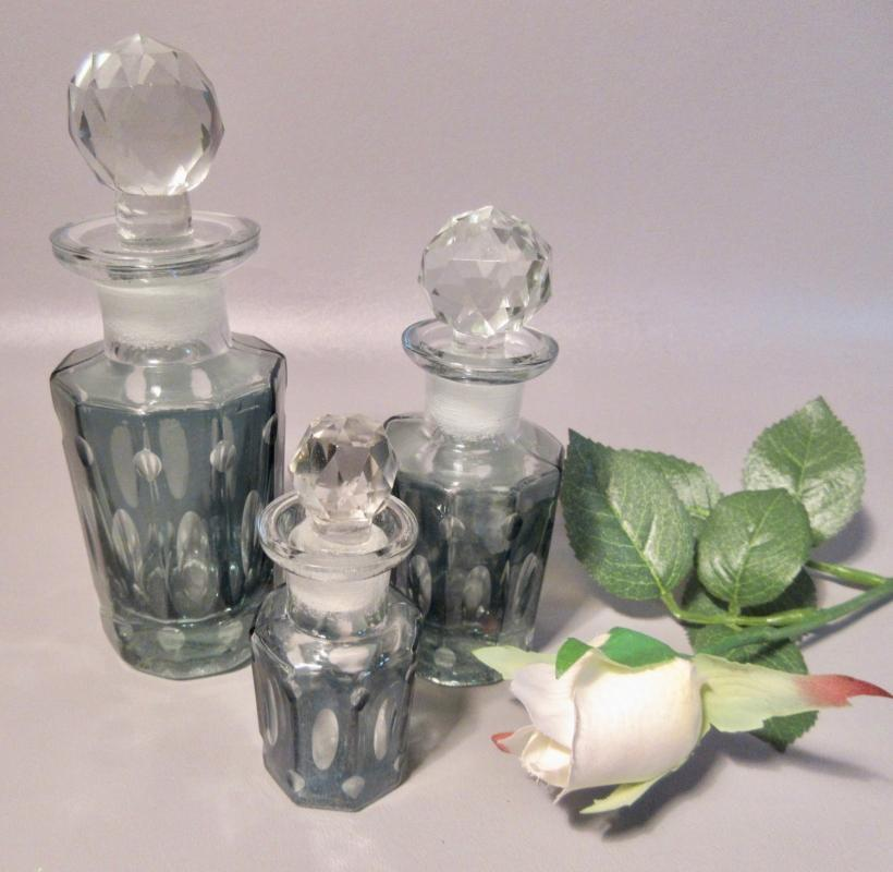 Set 3 Cut Glass Crystal Perfume Bottles By Restoration Hardware Teal Blue Fluted