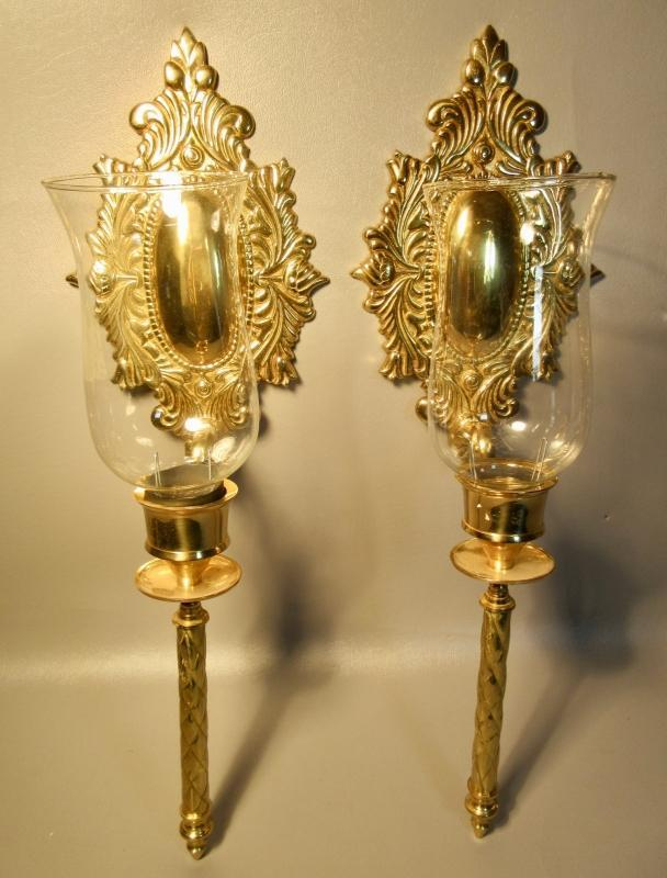 Pair Solid Brass Candle Wall Sconces w/Glass Hurricane Shades Convex Oval Design