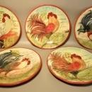 5 Charger Plates Susan Winget Hand Crafted Pottery Le Rooster Designs Certified International