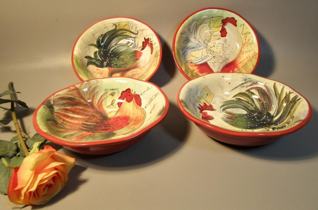 4 Large Serving Bowls Susan Winglet Hand Crafted Pottery Le Rooster Designs