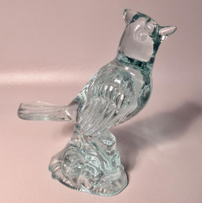 Mosser Art Glass Cardinal Bird Figurine Aquamarine Blue Double M Signature