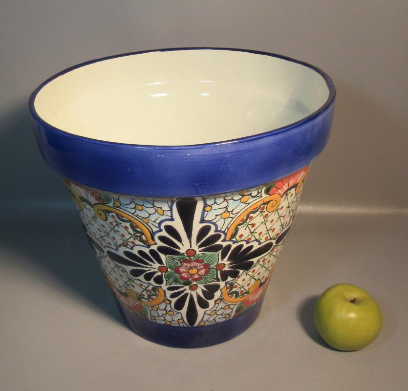 "Huge Talavera Castillo Flower Pot Hand Decorated In Mexico. 13"" x 14"" diameter. Gorgeous Designs."
