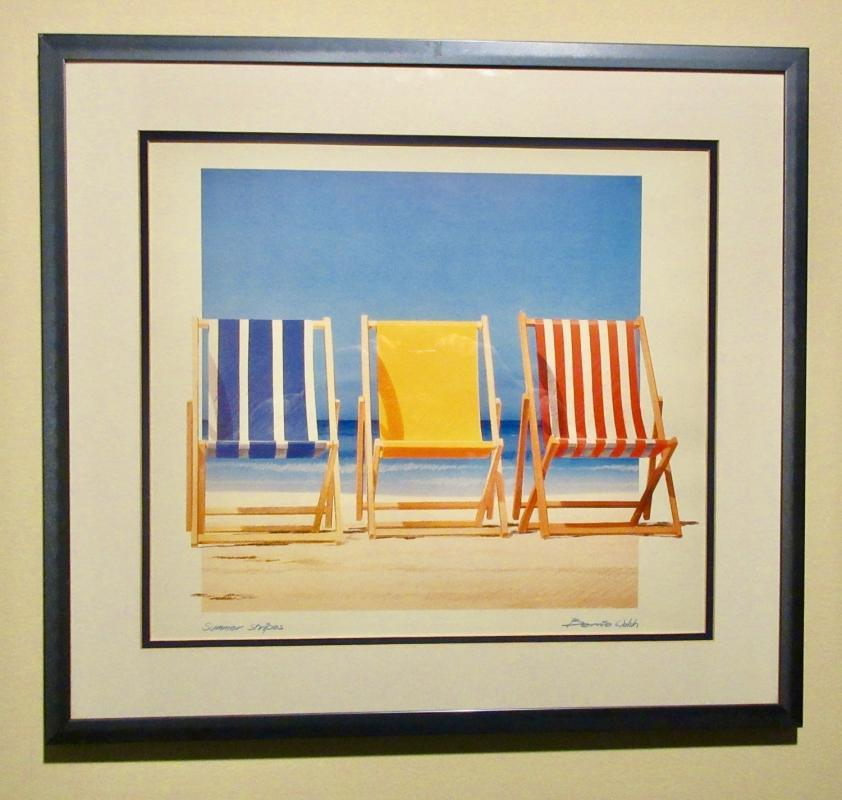 Bernie Walsh Print Summer Stripes w/3 Beach Chairs In The Sand Framed