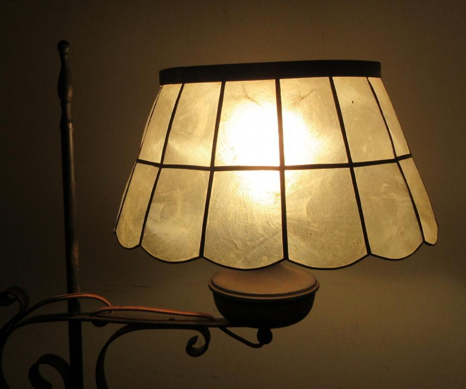 c1850 Primitive Floor Lamp Converted From Oil To Electric Wrought Iron w/Capiz Shell Shade