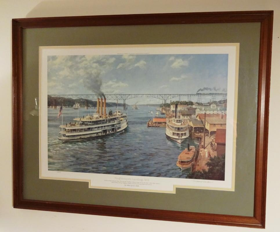 Framed Litho Print William Muller LA Hudson River Steamboat Robert Fulton Sigd/Num 169/475
