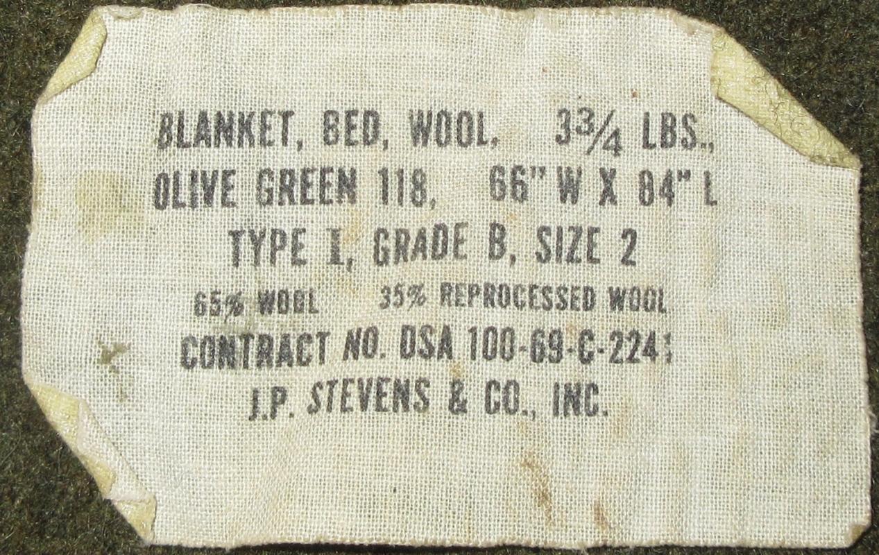Vintage US Army Military Blanket Olive Green Wool JP Stevens & Co.