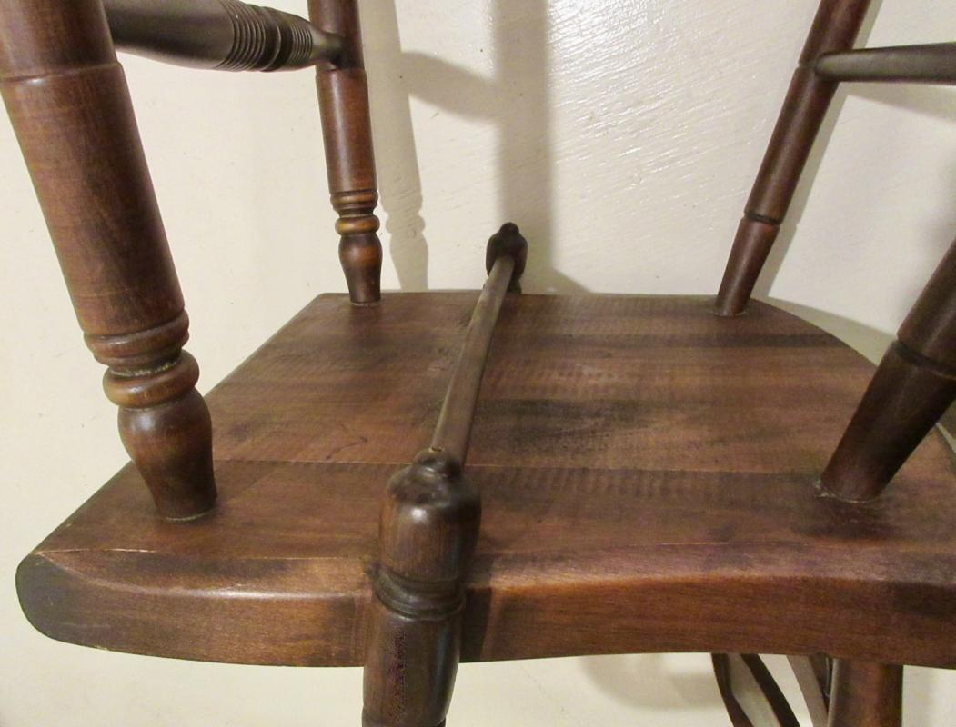 Set 4 Signed Hitchcock Walnut Chairs 2 Arms And 2 Sides w/Half Spindles & Gold Stencils