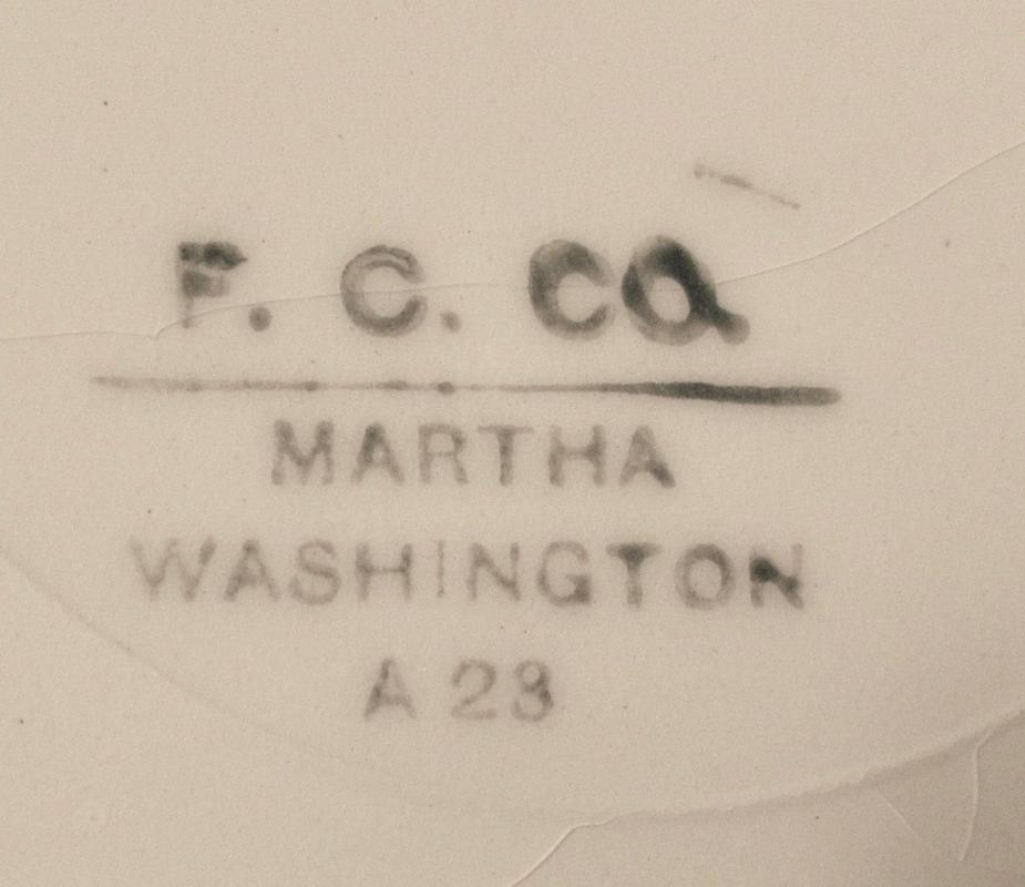 12 Large Soup Bowls F.C. Co. French China Martha Washington w/Doves c1920
