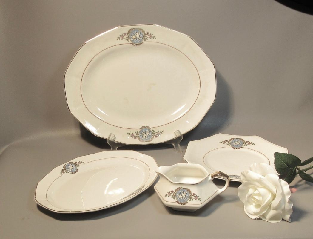 3 Serving Platters & Creamer F.C. Co. French China Martha Washington w/Doves c1920