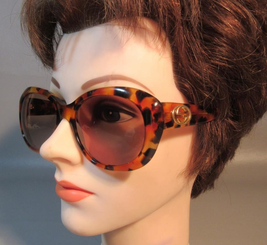 Vintage Gucci Sunglasses Tortoise GG2171 #140 Italy Big Square Mask Oversize