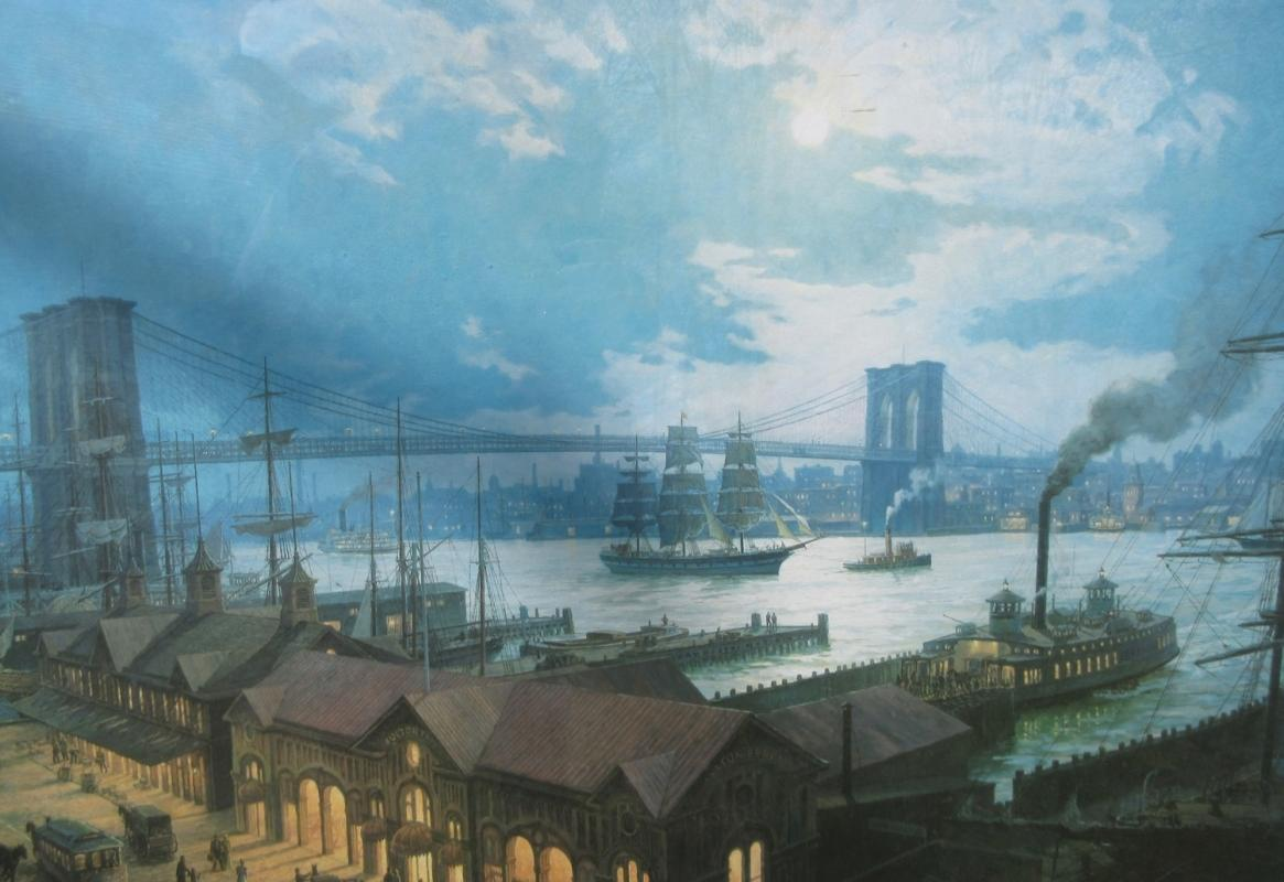 Litho Print William Muller View From South Street Seaport NY Sigd/Num 684/875