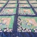 c1950s Quilt Log Cabin Quilt Block Pattern 58x84 w/24 Squares All Hand Stitched