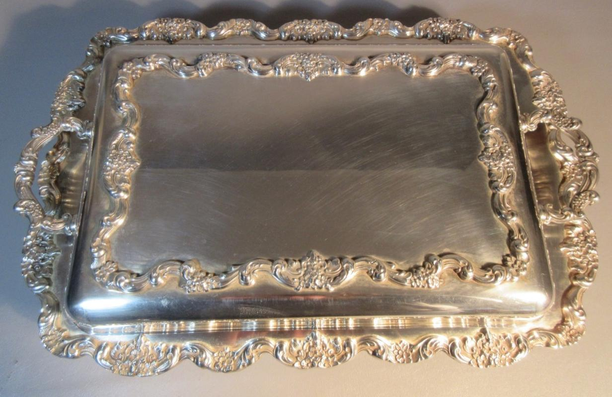 c1930 Large Poole Silver Plate Covered Buffet Serving Tray Warmer Footed w/Ornate Gadrooning