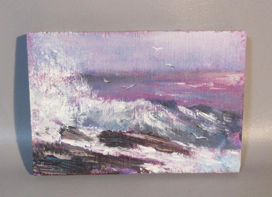 Lee Hochberg Small Oil Painting on Wood Block Ocean Waves & Seagulls