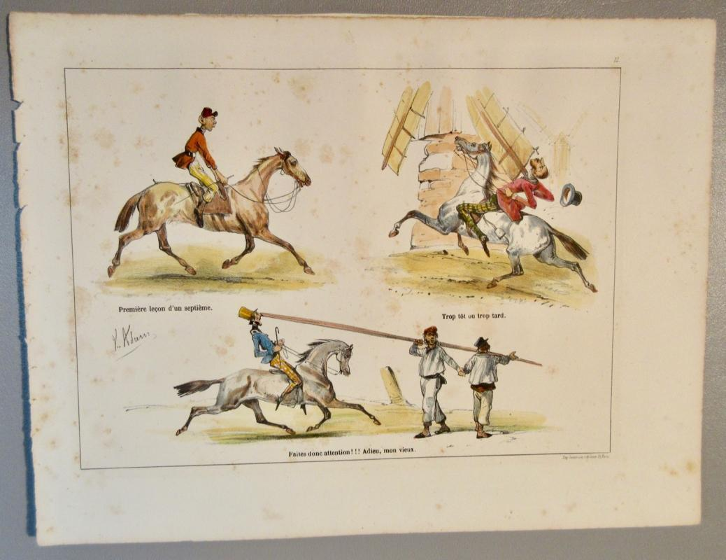 Jean Victor Adam c1830 Lithograph w/Horses Listed French Artist 1801-1867