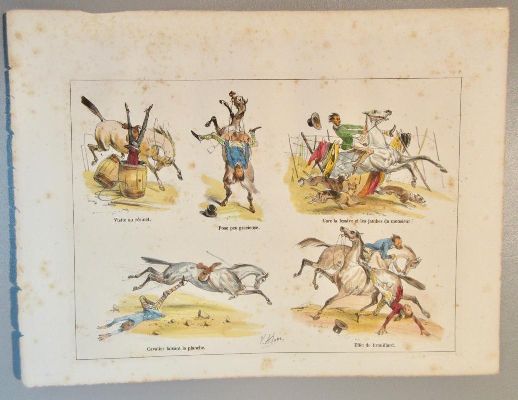 c1830 B. Jean Victor Adam Lithograph w/Horses Listed French Artist 1801-1867