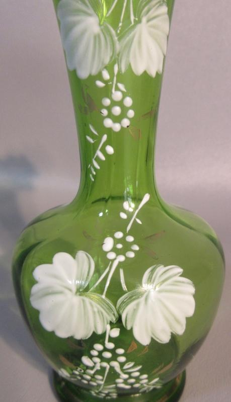 Victorian Art Glass Vase w/Hand Painted White Flowers & Ruffled Top Hand Blown c1890