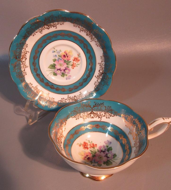 c1890 Royal Standard English Teacup Aqua & White Stripes w/Flowers And Gold Decorations