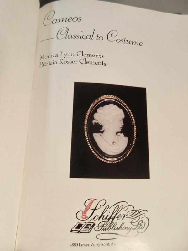 Schiffer Reference Hardcover Book Cameos Classical To Costume By Clements 1998 Near Mint