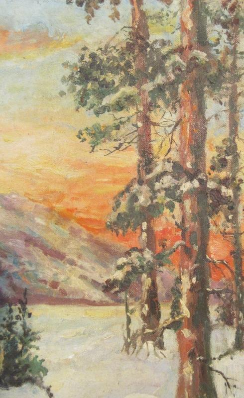Primitive Oil Painting Of Cabin & Pine Trees In The Snow w/Sunset In The Distance