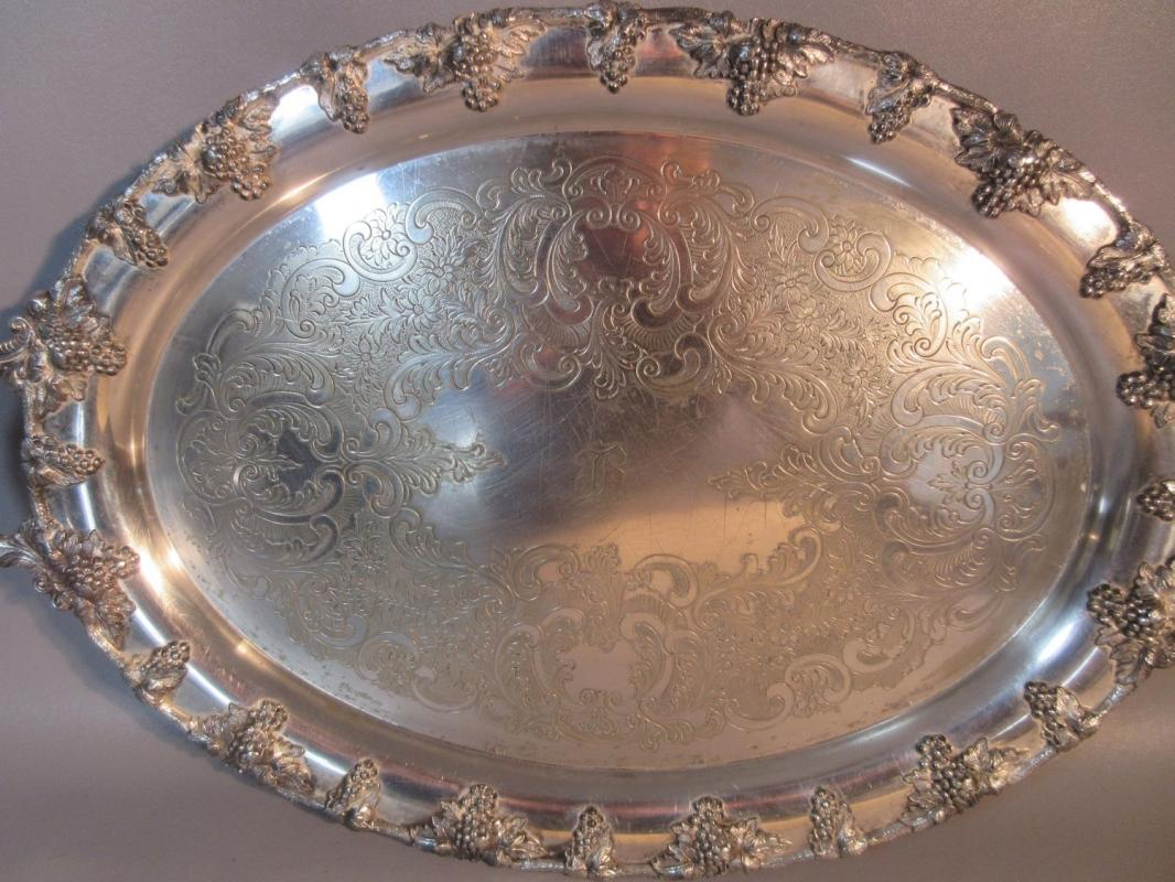 c1870 Nickel Silver Plated Footed Butler's Serving Tray Gadrooned Border w/Grapes Handles John Wanamaker