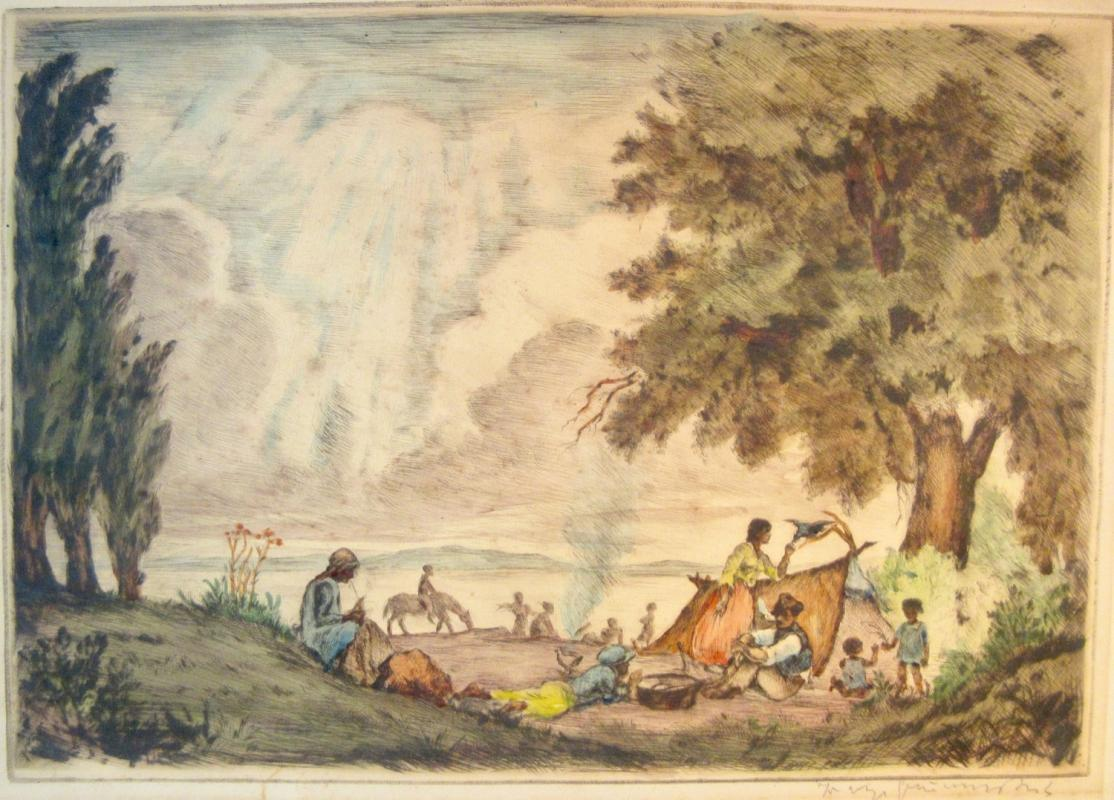 Mid 19th Century Steel Engraving Latin American Family Camping By River Pencil Signed Hand Colored