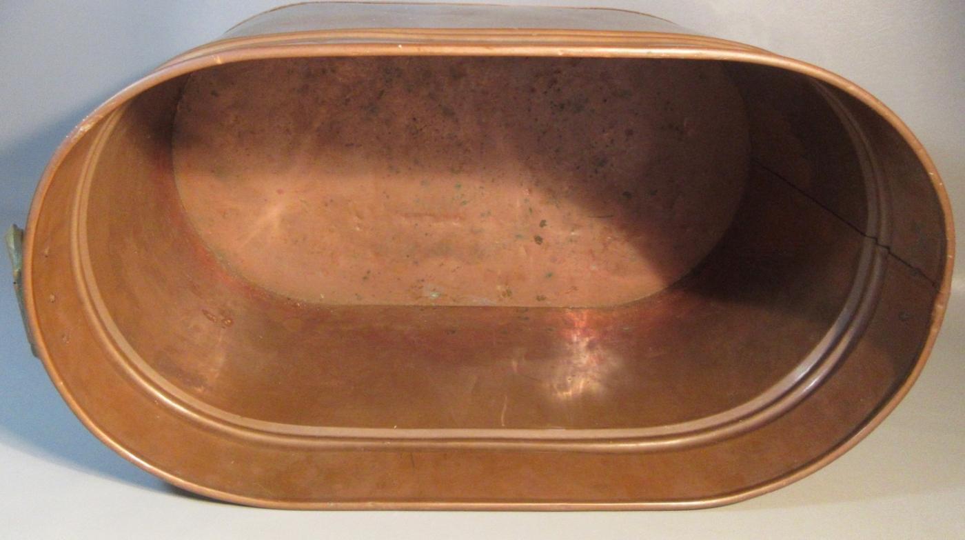 Vintage Heavy Copper Lined Copper Boiler Wash Tub Firewood Holder w/Brass Handles