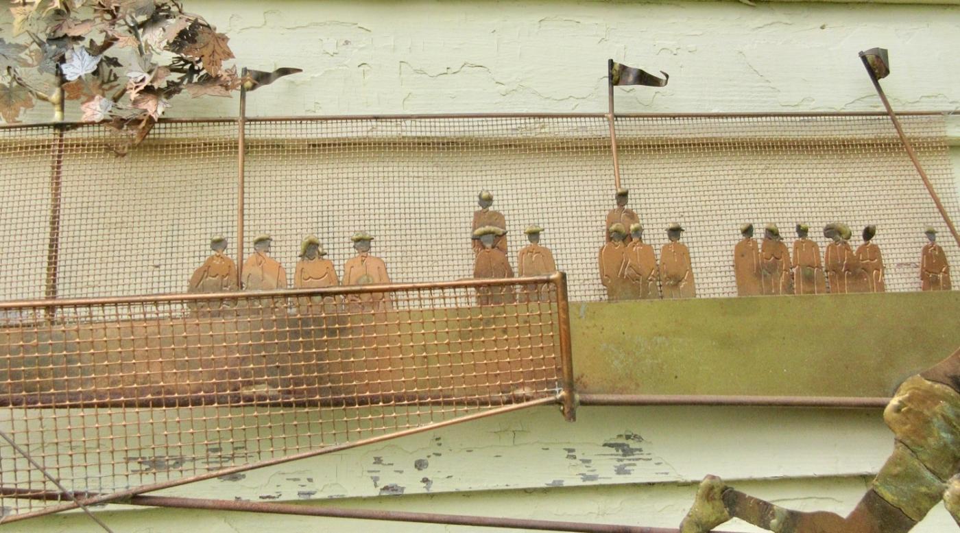 """55"""" Mid Century Modern Bijan Signed Wall Sculpture Tennis Match Curtis Jere Era"""