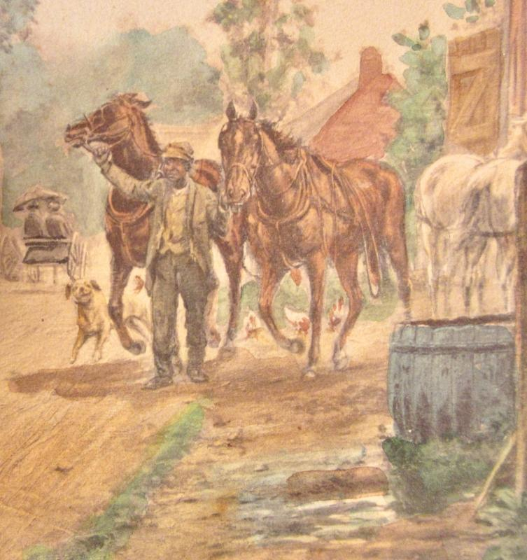 "1883 Edward Lamson Henry Chomolithograph ""Changing Horses"" By Klackner, NY Stagecoach Scene"