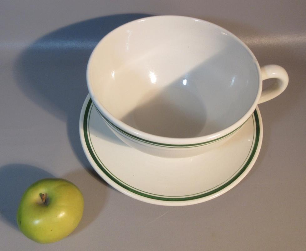 """GIANT 10"""" Diameter Cup w/12"""" Saucer By Think Big 1981 By Hall China Restaurant Ware"""