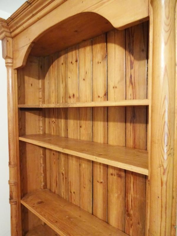 """c1860 Antique English Pine 83"""" Tall Bookcase Cabinet w/4 Shelves Crown Molding"""