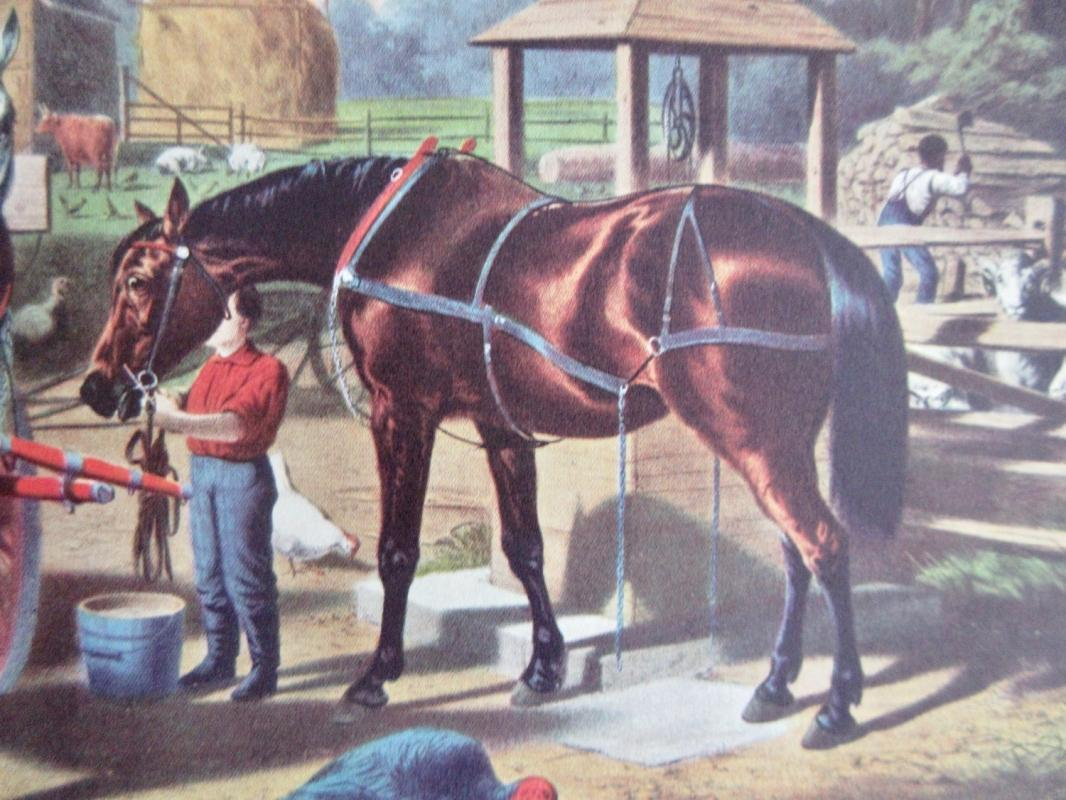 Preparing For Market Currier & Ives 1950s Print From An 1868 Lithograph w/Horse Drawn Buckboard Wagon And Food Baskets