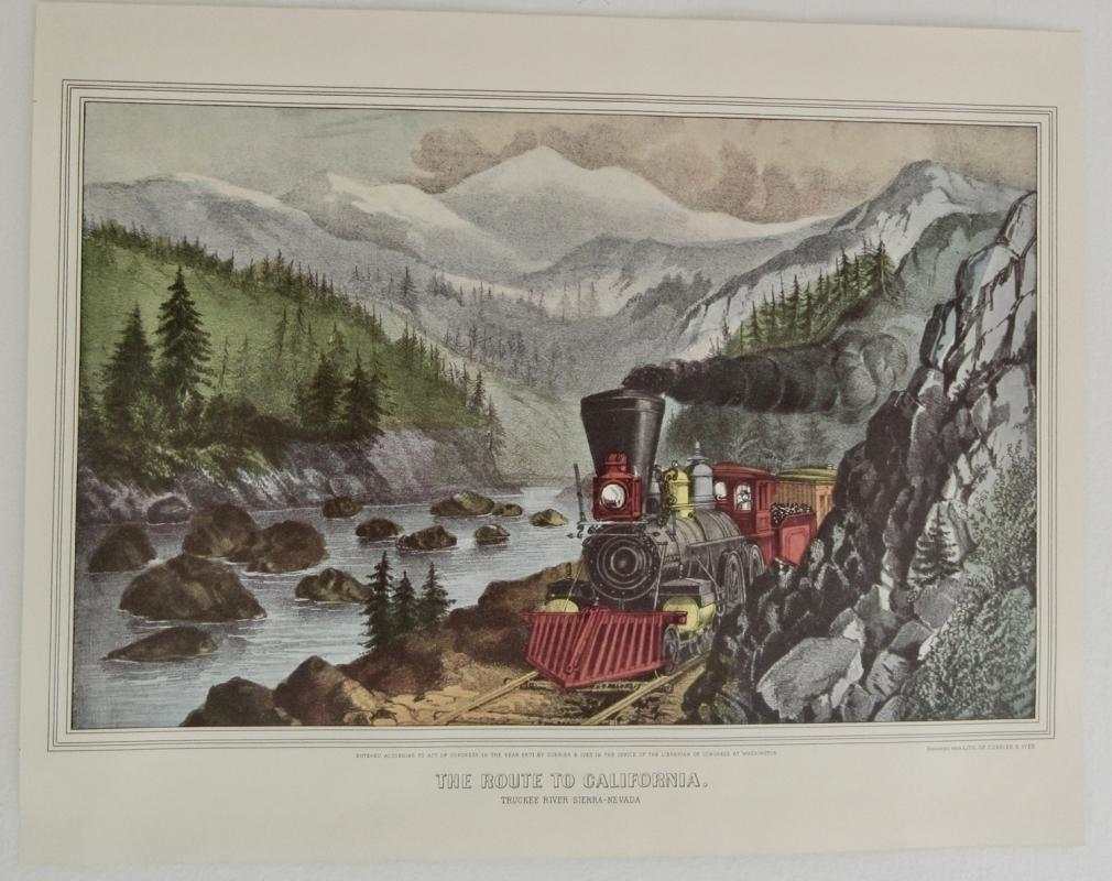 The Train Route To California- Sierra Nevada Currier & Ives 1950s Print From An 1868 Litho