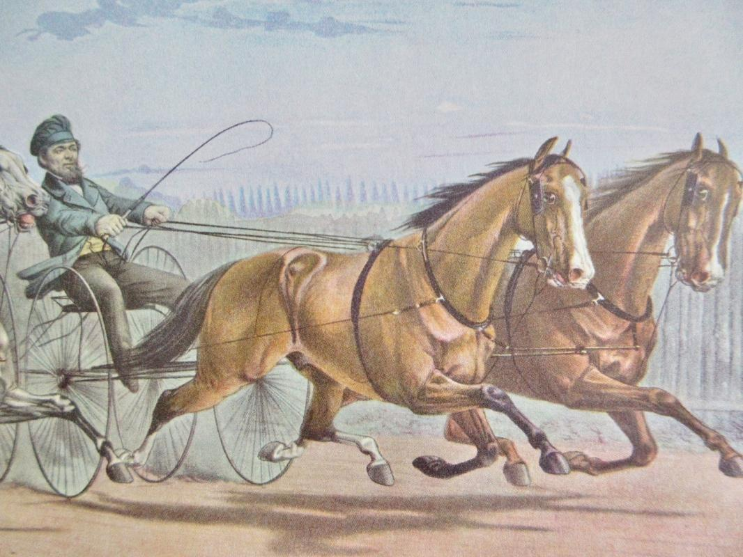 Horses Stella And Alice Grey, Lantern And Whalebone Currier & Ives 1950s Print From An 1868 Lithograph Passing The Stand