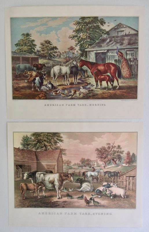 Pair American Farm Yard Currier & Ives 1950s Prints From An 1868 Lithograph Morning And Evening