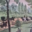 Central Park The Drive Currier & Ives 1950s Print From An 1868 Lithograph New York Carriage Riders